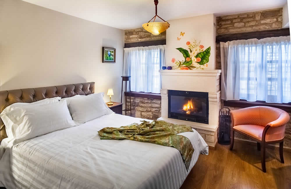 (DOUBLE ROOM WITH FIREPLACE – 10) A3 : GROUND FLOOR FACILITIES: FULL BED, SMART TV, FREE WI-FI, HYDROMASSAGE